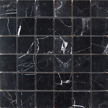 Polished Marble Mosaic Tiles Black 305 X 305mm
