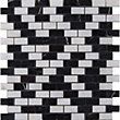 Black and White Marble Brick Mosaic Tiles - 255 x 255mm