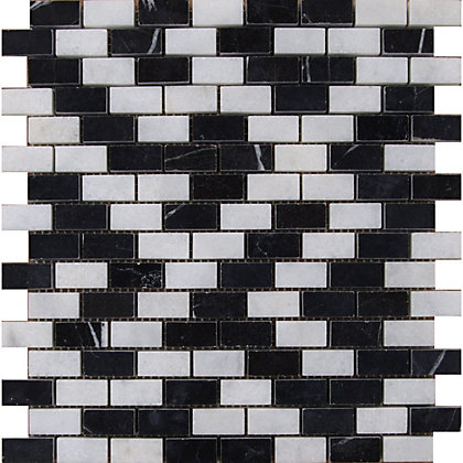 Image for Black and White Marble Brick Mosaic Tiles - 255 x 255mm from StoreName