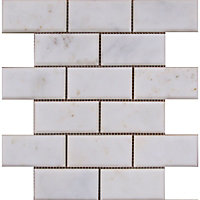 Image for marble bevelled brick mosaic tiles white 255 x 255mm from