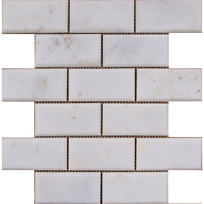 Image for Marble Bevelled Brick Mosaic Tiles- White - 255 x 255mm from StoreName