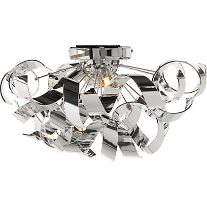 Chrome ribbon flush ceiling light for Homebase design your own bedroom