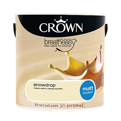 Image for Crown Breatheasy Snowdrop - Matt Emulsion Paint - 2.5L from StoreName