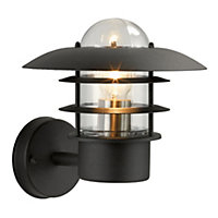 ufo garden wall light black finish with polycarbonate diffuser