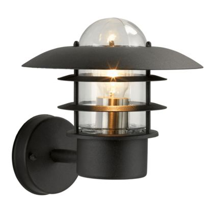 UFO Garden Wall Light - Black Finish with Polycarbonate Diffuser