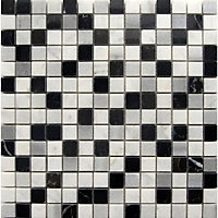 Marble Mosaic Tiles - Black White and Grey - 300 x 300mm