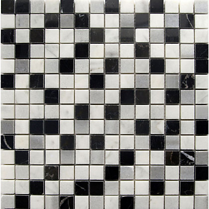 Image for Marble Mosaic Tiles - Black White and Grey - 300 x 300mm from StoreName