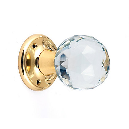 Image for Clear Glass Faceted PB Mortice Knob - 2 Pk from StoreName