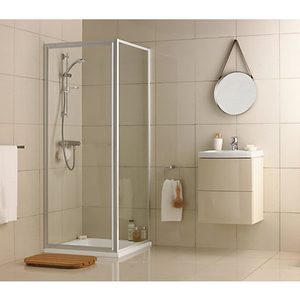 Image for Aqualux Crystal Pivot Shower Enclosure - 760 x 760mm - Silver from StoreName