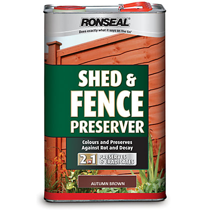 Image for Ronseal Shed & Fence Preserver Autumn Brown - 5L from StoreName