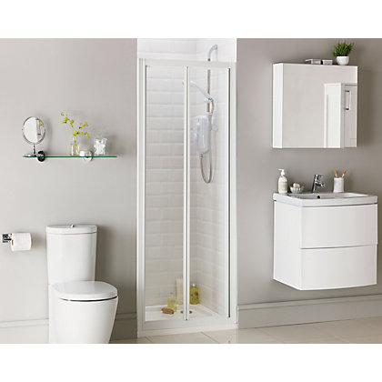 Image for Aqualux Crystal Bi-Fold Recess Shower Enclosure - 760 x 1850mm - White from StoreName
