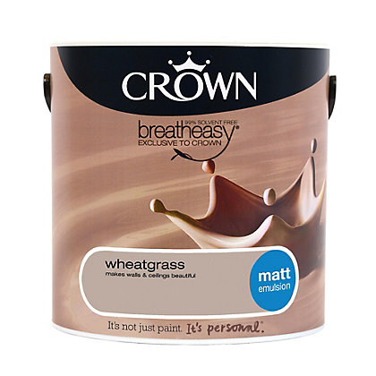 Image for Crown Breatheasy Neutrals Wheatgrass - Matt Emulsion Paint - 2.5L from StoreName