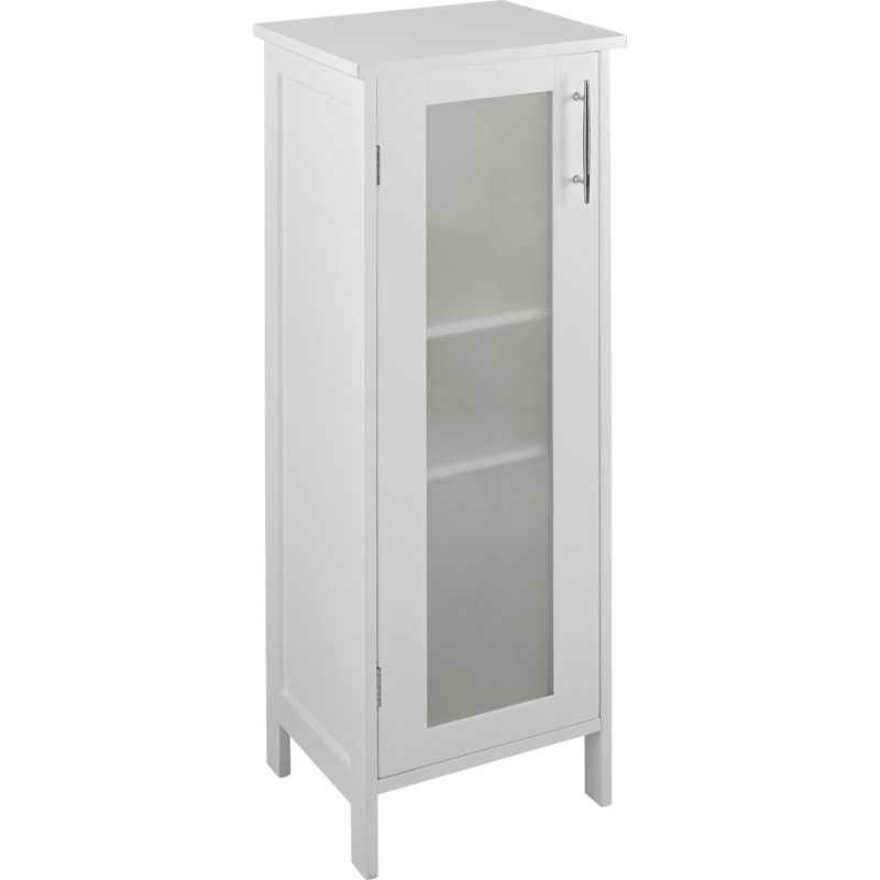 Hygena frosted insert bathroom floor cabinet white for Bathroom floor cabinet