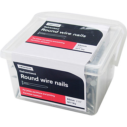 Image for Galvanised Round Wire Nails - 5 x 65mm - 1kg Pack from StoreName