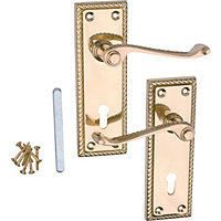 Georgian Lever Lock Door Handle - Polished Brass - 1 Pair