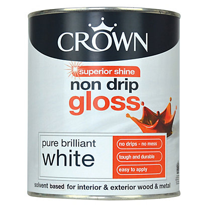 Image for Crown Pure Brilliant White - Non Drip Gloss Paint - 750ml from StoreName