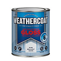 Homebase Weathercoat Pure Brilliant White - Exterior One Coat Gloss Paint - 750ml