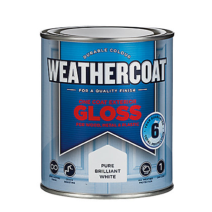 Image for Homebase Weathercoat Pure Brilliant White - Exterior One Coat Gloss Paint - 750ml from StoreName