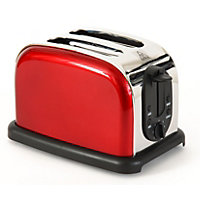 Easy Home Stainless Steel 2 Slice Toaster - Metallic Red
