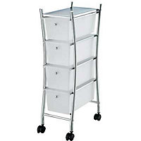 Curved Four Drawer Bathroom Trolley - Slim Design