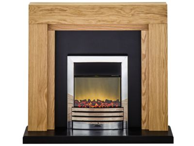 Adam Montana Electric Fireplace Suite with Chrome Fire