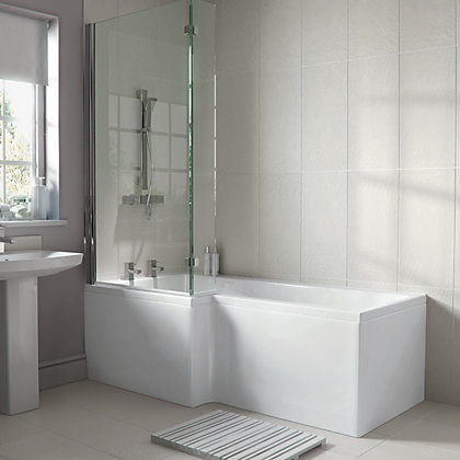 Image for Emberton L Shaped Shower Bath End Panel - White from StoreName