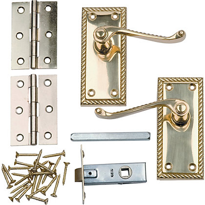 Image for Georgian Door Handle Internal Pack - Polished Brass - 1 Pair from StoreName