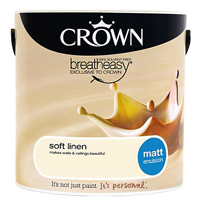 Image for Crown Breatheasy Soft Linen - Matt Emulsion Paint - 5L from StoreName