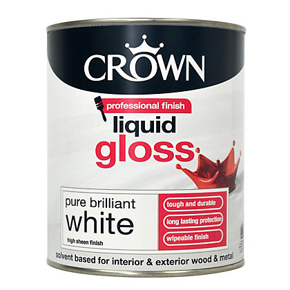 Image for Crown Brilliant White - Liquid Gloss Paint - 750ml from StoreName
