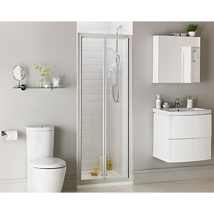 Image for Aqualux Crystal Bi-Fold Recess Shower Enclosure - 760 x 1850mm - Silver from StoreName