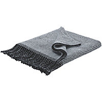 Habitat Abban  Reversible Cotton Throw - Black and Grey