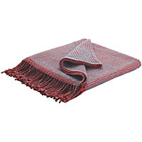 Habitat Abban  Reversible Cotton Throw - Red and Blue