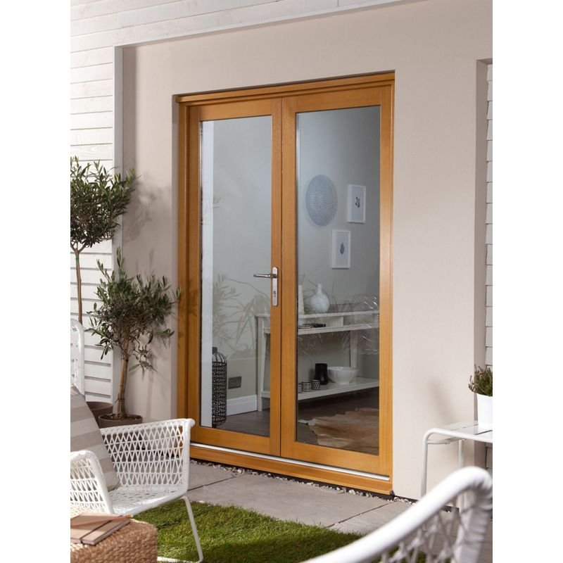 Oak veneer french doorset 1800mm wide for 1500mm french doors