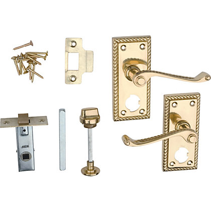 Image for Georgian Privacy Set Door Handle - Polished Brass - 1 Pair from StoreName