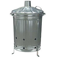 Garden Galvanised Steel Incinerator Bin with Lid - 85L