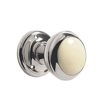 Image for Ceramic Mortice Knob - Silver and Cream from StoreName