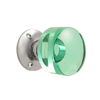 Image for Kendal Glass Flat Round Mortice Knob - Polished Nickel from StoreName