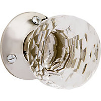 Clair Glass Faceted Flat Mortice Knob - Polished Nickel
