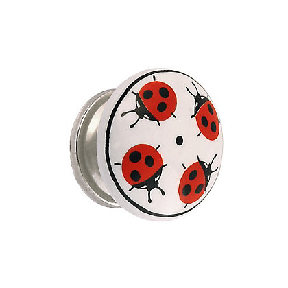 Image for Ladybird Ceramic Knob - Polished Nickel from StoreName