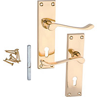 Victorian Scroll Lever Door Lock - Polished Brass - 1 Pair