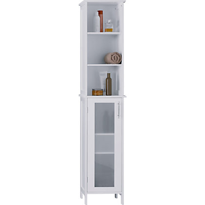 hygena frosted insert tall boy white