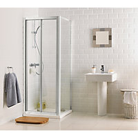 Aqualux Crystal Bi-Fold Enclosure Silver- 760 x 760mm