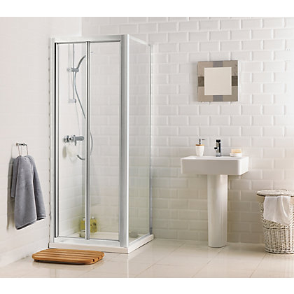 Image for Aqualux Crystal Bi-Fold Shower Enclosure - 760 x 760mm - Silver from StoreName