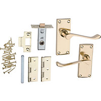 Victorian Scroll Internal Door Handle Pack - Polished Brass