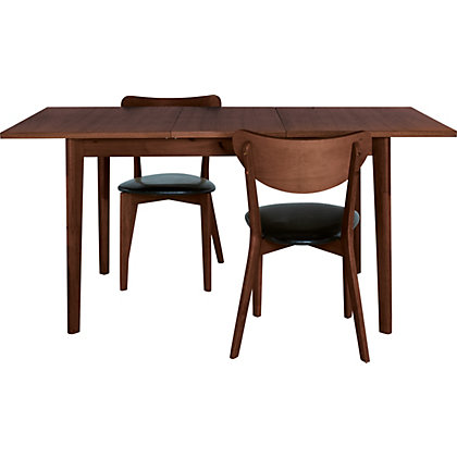 hygena merrick walnut table and 4 faux leather chairs at. Black Bedroom Furniture Sets. Home Design Ideas