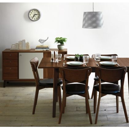 Hygena Merrick Walnut Table and 6 Faux Leather Chairs