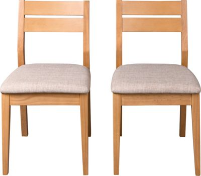 Hygena Stryder Oak Pair of Dining Chairs - Light Fabric