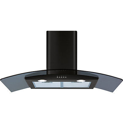 Image for CDA ECP92BL Curved Glass Chimney Hood - 90cm - Black from StoreName