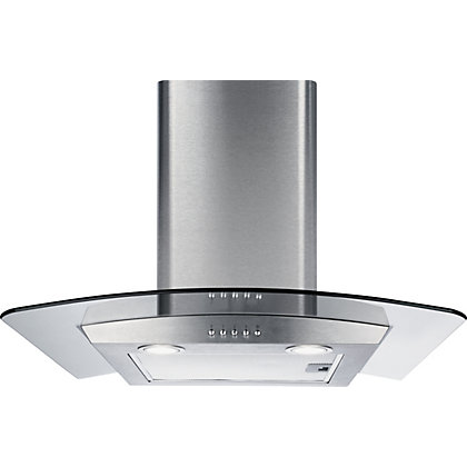 Image for CDA ECP92SS Curved Glass Chimney Hood - 90cm - Stainless Steel from StoreName
