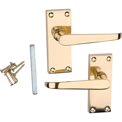 Victorian Lever Door Latch Polished Brass 1 Pair